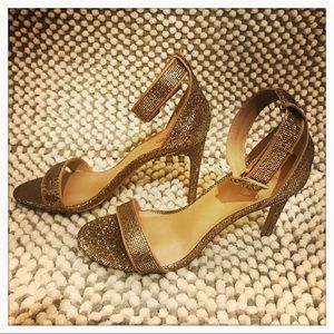 Gold Glittery Strappy Stiletto